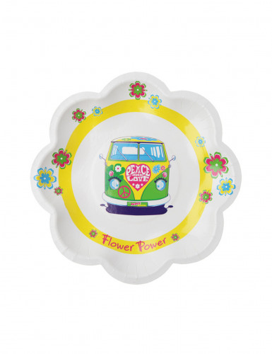 10 Petites assiettes en carton Hippie Peace and Love 19.5 cm