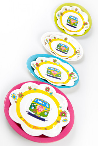 10 Petites assiettes en carton Hippie Peace and Love 19.5 cm-1