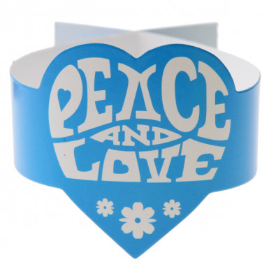 6 Ronds de serviette turquoise Hippie Peace and Love