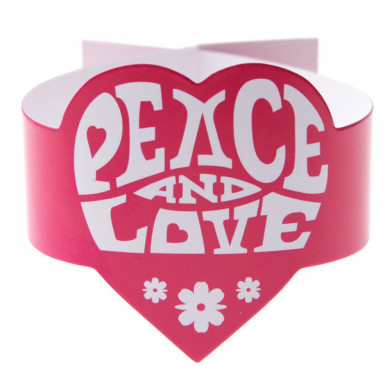 6 Ronds de serviette fuchsia Hippie Peace and Love
