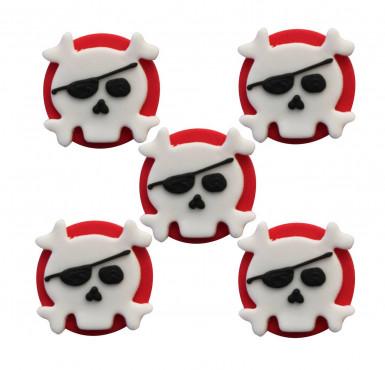 5 Décorations gâteaux en sucre Pirate 3,5 cm