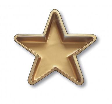 Plat de présentation en plastique étoile dorée 25 cm