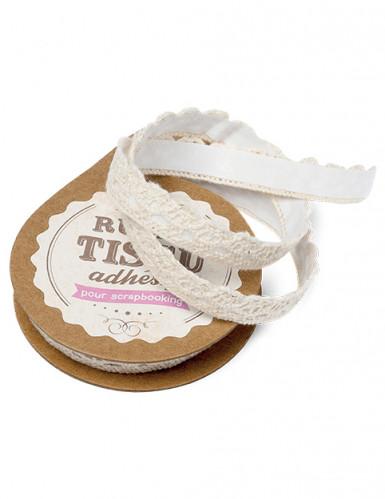 Ruban tissu adhésif dentelle ivoire 10 mm x 2 m