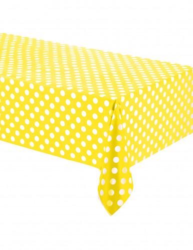 Nappe en plastique jaune à pois blancs 1,37  x 2,74 m