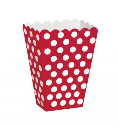 8 Boîtes pop corn rouge à pois blanc