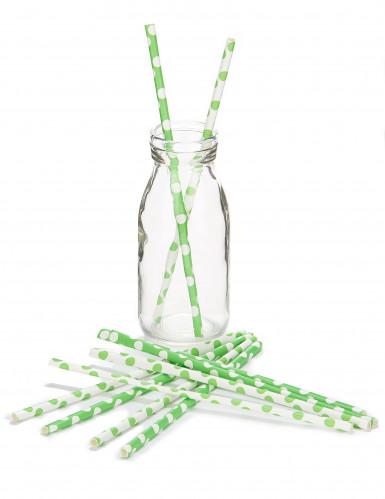 10 Pailles en carton vertes à pois blancs 21 cm-1