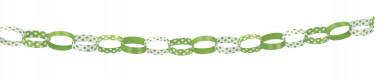 Guirlande de chaîne en papier crépon verte et banche-1