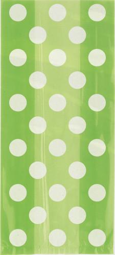 20 Pochettes cadeaux vertes à pois blanc