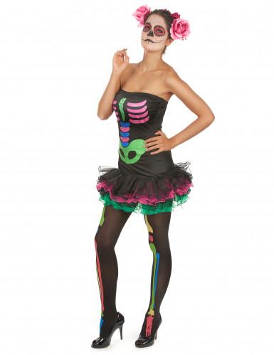 Déguisement squelette coloré femme Halloween-2