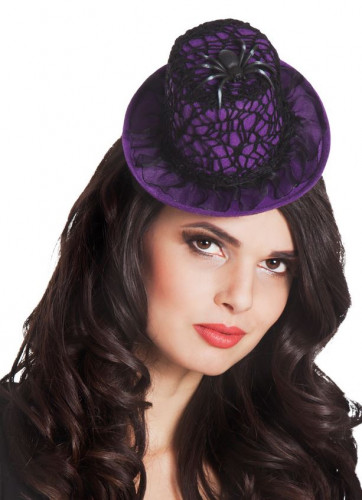 Mini chapeau violet toile d'araignée femme Halloween