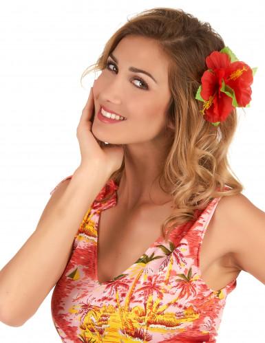Barrette fleur rouge Hawaï