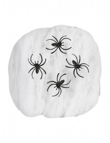 Toile d'araignée blanche avec araignées 50g Halloween-1
