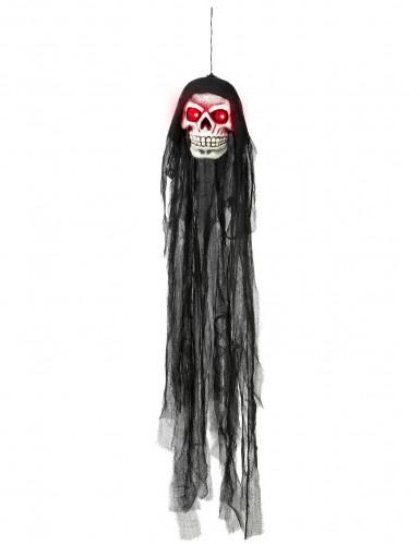 Décoration à suspendre crâne yeux lumineux Halloween