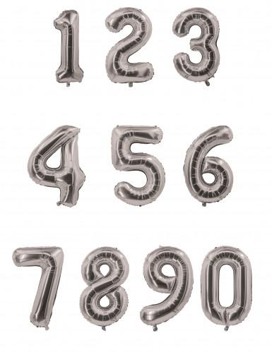 Ballon aluminium chiffre argenté 85 cm-1
