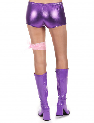 Shorty disco violet brillant femme-2