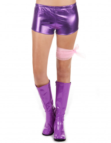 Shorty disco violet brillant femme-1