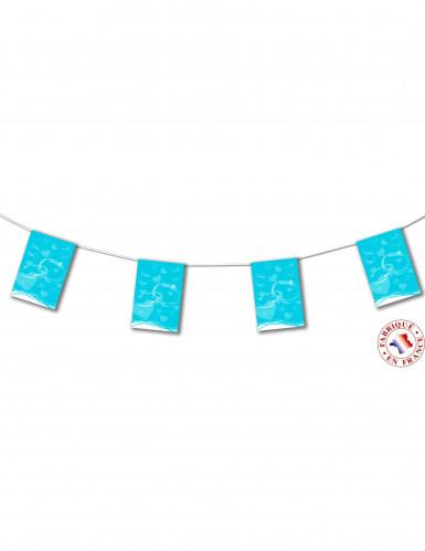 Guirlande fanions papier mariage turquoise 4m