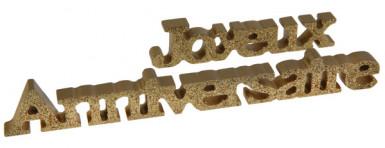 Décoration lettres Joyeux Anniversaire or