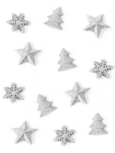 12 Décorations de table Noël argentées 2,5 cm