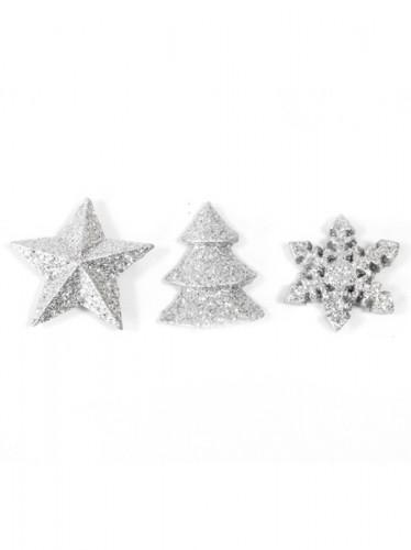12 Décorations de table Noël argentées 2,5 cm-1