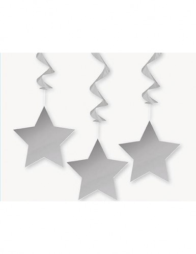 3 Décorations à suspendre étoiles grises 9 x 30 cm