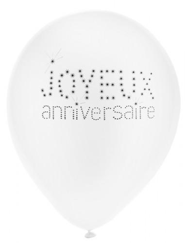 8 Ballons en latex anniversaire chic 23 cm