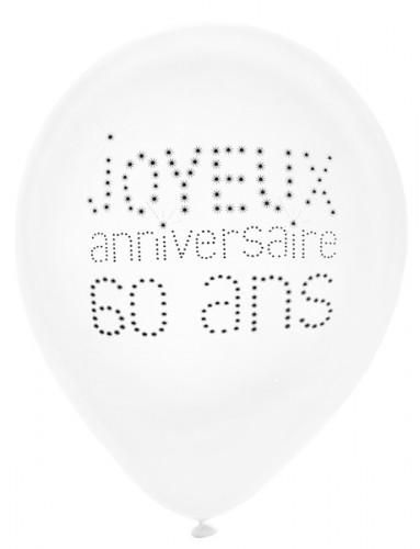 8 Ballons en latex 60 ans anniversaire chic 23 cm