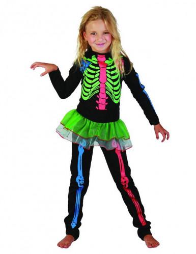 Déguisement squelette coloré fille Halloween