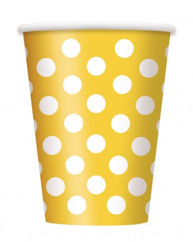 6 Gobelets jaunes à pois blancs