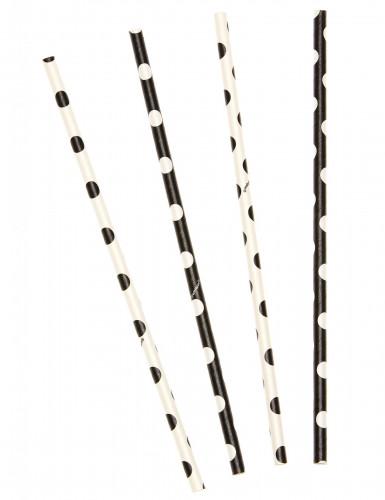 10 Pailles blanches et noires à pois 21 cm