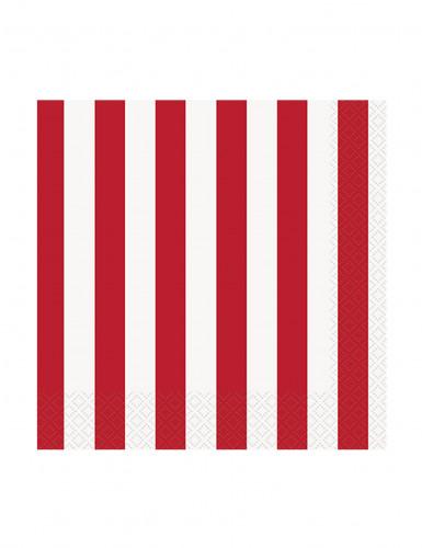 16 Petites serviettes en papier rayées rouges et blanches 25,5 x 25,5 cm