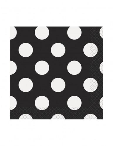 16 Petites serviettes en papier noires à pois 25 x 25 cm