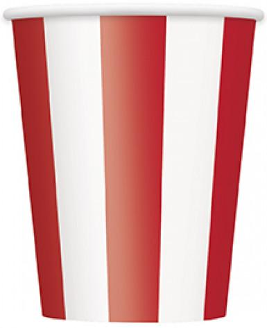 6 Gobelets rayés rouge et blanc