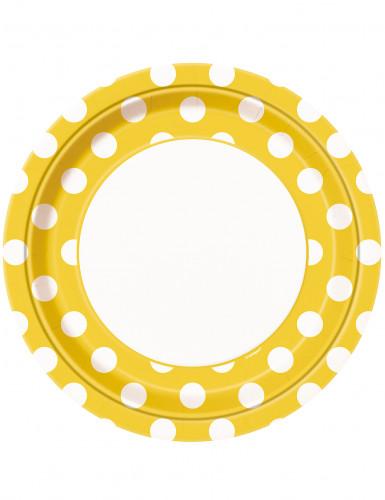 8 Assiettes jaunes à pois blancs en carton 22 cm