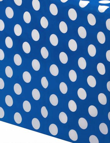 Nappe bleu marine à pois blancs en plastique 137 x 274 cm-1