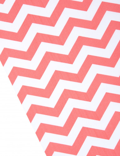 Chemin de table tissu chevrons corail et blanc-1