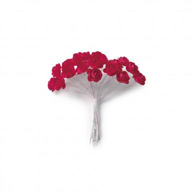 24 Mini roses rouges sur tige