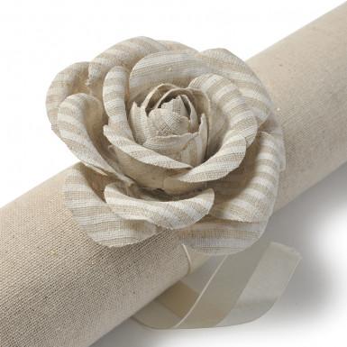 2 Roses rayées en lin + ruban