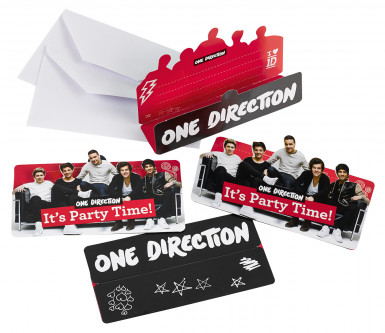 8 Invitations avec enveloppes One Direction ™