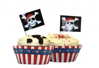 24 Moules et pics pour cupcakes Sourire de Pirate