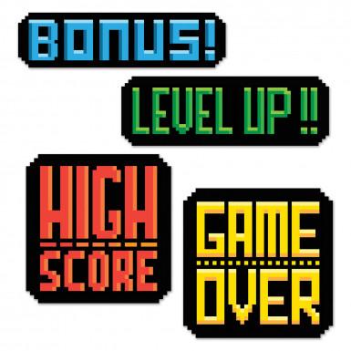 4 Décorations 8-Bit Action Années 80's