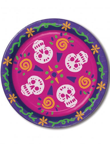 8 Assiettes en carton Dia de los Muertos 23 cm