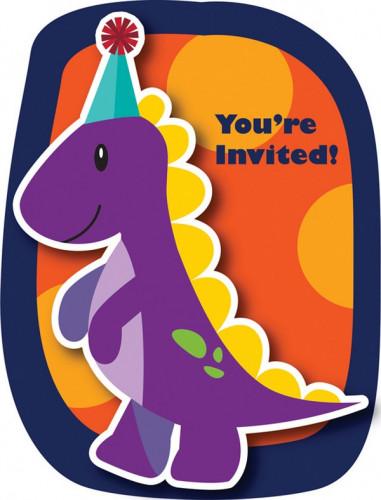 8 Cartes d'invitation Anniversaire Petits Dinosaures