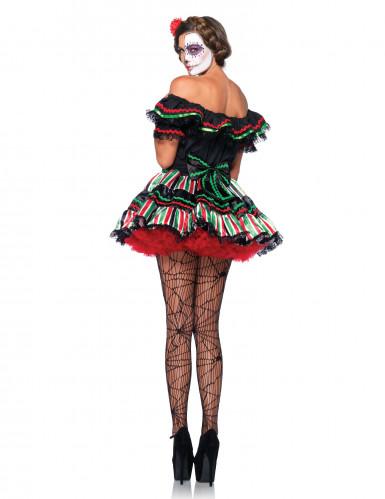 Déguisement squelette mexicaine colorée femme Dia de los muertos-1