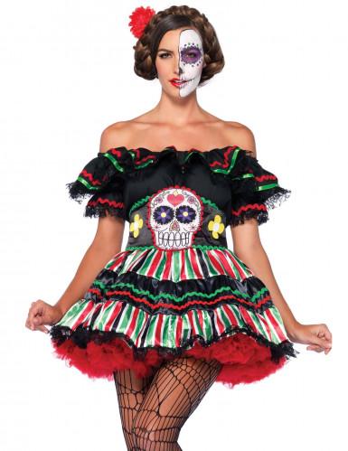 Déguisement squelette mexicaine colorée femme Dia de los muertos-2