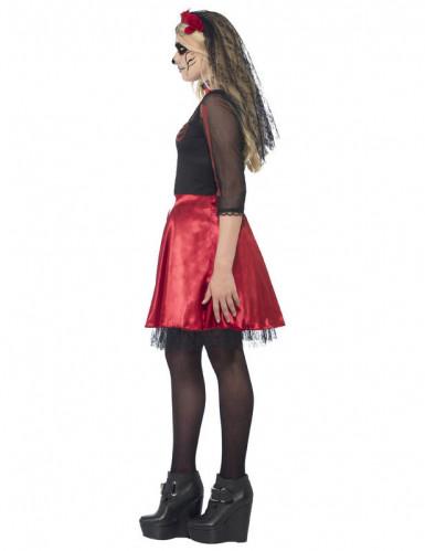Déguisement squelette rouge à paillettes adolescente Halloween-1