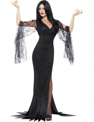 Déguisement sorcière avec dentelle noire femme Halloween