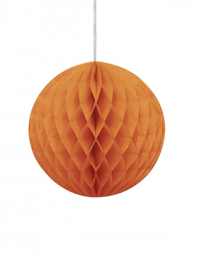 Suspension boule en papier alvéolée orange 20 cm