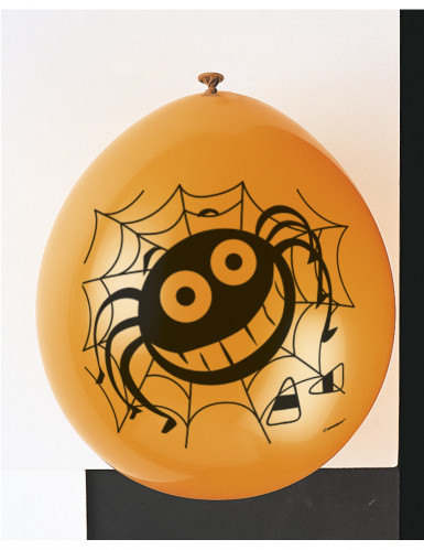 10 Ballons en latex araignées halloween noirs 30 cm-1
