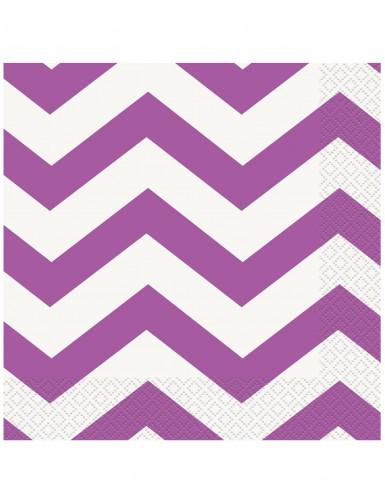 16 Serviettes en papier Chevrons Violets 33 x 33 cm